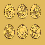 Painted Easter eggs on brown Royalty Free Stock Photos
