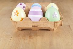Painted Easter Eggs in Carton Stock Photography