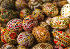 Painted Easter eggs. Close-up of traditionally painted Easter eggs from Romania stock image