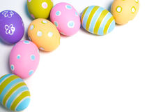 Painted Easter eggs with copy space on background Stock Images