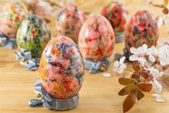 Painted Easter eggs in custom egg holders Royalty Free Stock Photography