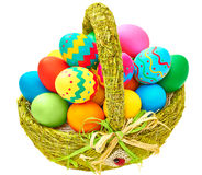 Painted Easter Eggs in decorated Basket on white background Royalty Free Stock Image