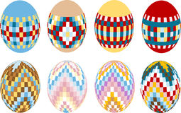 Painted Easter eggs. Design. Illustration. Eight colored Easter eggs painted ornament. Design.Illustration.Background Stock Image