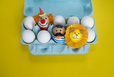 Circus.The concept of Easter with cute and cheerful handmade eggs. Painted Easter eggs in different moods and facial expression The concept of Easter with cute Royalty Free Stock Images