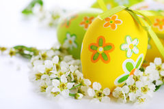 Painted Easter Eggs with flowers. stock photo