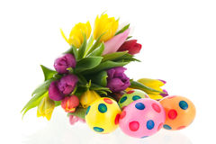 Painted easter eggs with flowers Stock Photos