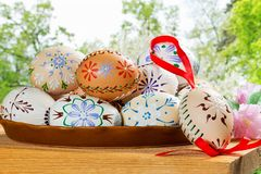 Painted Easter eggs. In the garden royalty free stock images