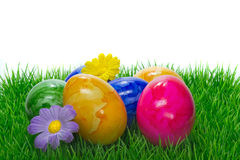Painted Easter eggs on grass Royalty Free Stock Image