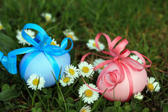 Painted Easter eggs in the grass with daisies Royalty Free Stock Photos