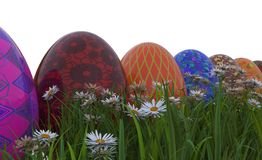 Painted Easter Eggs On Grass Stock Photo
