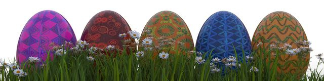 Painted Easter Eggs On Grass Stock Photos