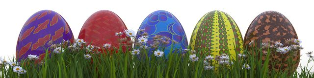 Painted Easter Eggs On Grass Royalty Free Stock Photography