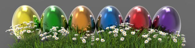 Painted Easter Eggs On Grass Stock Image
