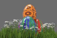 Painted Easter Eggs On Grass Royalty Free Stock Photos