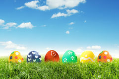 Painted Easter eggs on grass Stock Photography