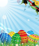 Painted Easter eggs in the grass Royalty Free Stock Photos