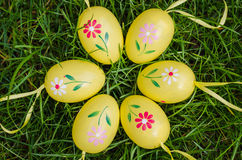 Painted easter eggs on green grass Royalty Free Stock Photos