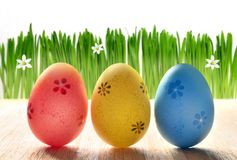 Painted Easter eggs in a green grass on a white background. Painted Easter eggs in a green grass on white background. Happy Easter Stock Photos