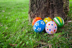 Painted Easter eggs hidden on the grass behind a tree trunk Stock Photo