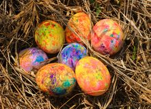 Painted Easter eggs hidden on the grass, ready for the easter egg hunt traditional play game Stock Photos