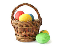 Painted Easter Eggs In Basket Stock Images
