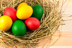 Painted Easter eggs lie in a nest of hay. Easter eggs, painted in green, red, yellow, lie in a nest of hay Stock Photography