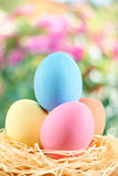 Painted Easter Eggs in nest on floral background. Painted Easter Eggs in straw nest on floral background Stock Photography