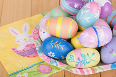 Painted Easter Eggs on a Plate Royalty Free Stock Image