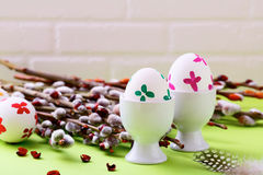 Painted Easter eggs and pussy willow. Celebration Stock Photography
