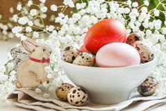 Painted Easter eggs and quail eggs in a white porcelain bowl wit royalty free stock photography