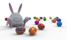 Painted Easter Eggs And Rabbit Royalty Free Stock Image