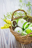 Painted easter eggs with ribbons Royalty Free Stock Photography