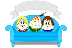 Painted Easter Eggs on a Sofa with Banner. 3 Painted Easter Eggs on a Sofa with a Blank Banner royalty free illustration