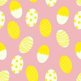 Painted Easter Eggs with Stripes and Dots Seamless Pattern Print Background vector illustration