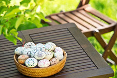Painted Easter eggs. Easter eggs on the table stock photos
