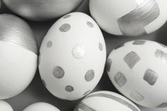 Painted Easter eggs on table. Top view royalty free stock photography