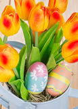 Painted Easter Eggs and Tulips Royalty Free Stock Photo