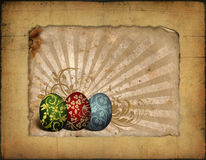 Painted easter eggs on vintage background image Stock Photography