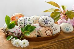 Painted Easter eggs. On the wooden desk royalty free stock photo