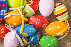 Painted easter eggs on a plank. Painted easter eggs on a wooden plank Royalty Free Stock Photography