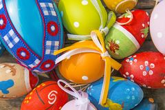 Painted easter eggs on a plank. Painted easter eggs on a wooden plank Royalty Free Stock Photos
