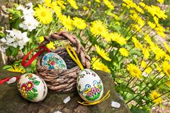 Painted Easter eggs. With yellow flowers in the garden stock image