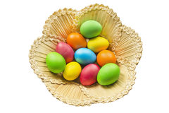Painted eggs in a basket. Some multicolor painted eggs in a straw basket royalty free stock photography