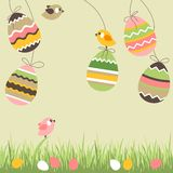 Painted eggs and birds Royalty Free Stock Photo
