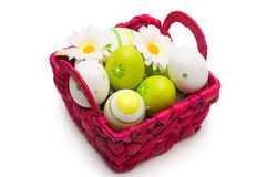Painted eggs in busket Royalty Free Stock Image