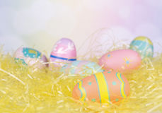 Painted Eggs on Easter Grass Stock Images