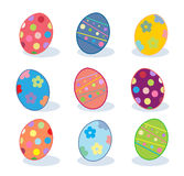 Painted eggs. Easter eggs, Holiday pattern, Hand Drawn, Easter Celebration. Greeting card background. Vector Illustration template with painted eggs, vintage stock illustration