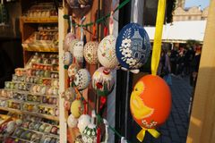 Painted Easter Eggs on the Market royalty free stock photos