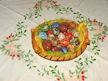 Painted eggs in easter time. Painted eggs, an old 2000 years in Romania. The custom was adopted by Orthodox religion Royalty Free Stock Photo