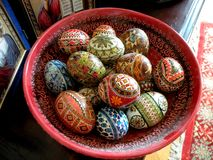 Painted eggs in easter time 3. Eggs painted peasant in Romania. Orthodox habit, 2,000 years old Stock Images